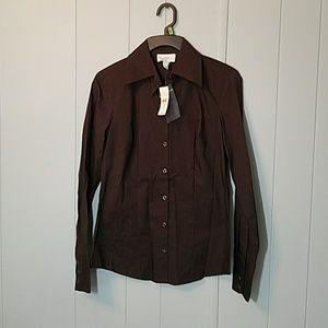 NWT LOFT Brown buttondown shirt